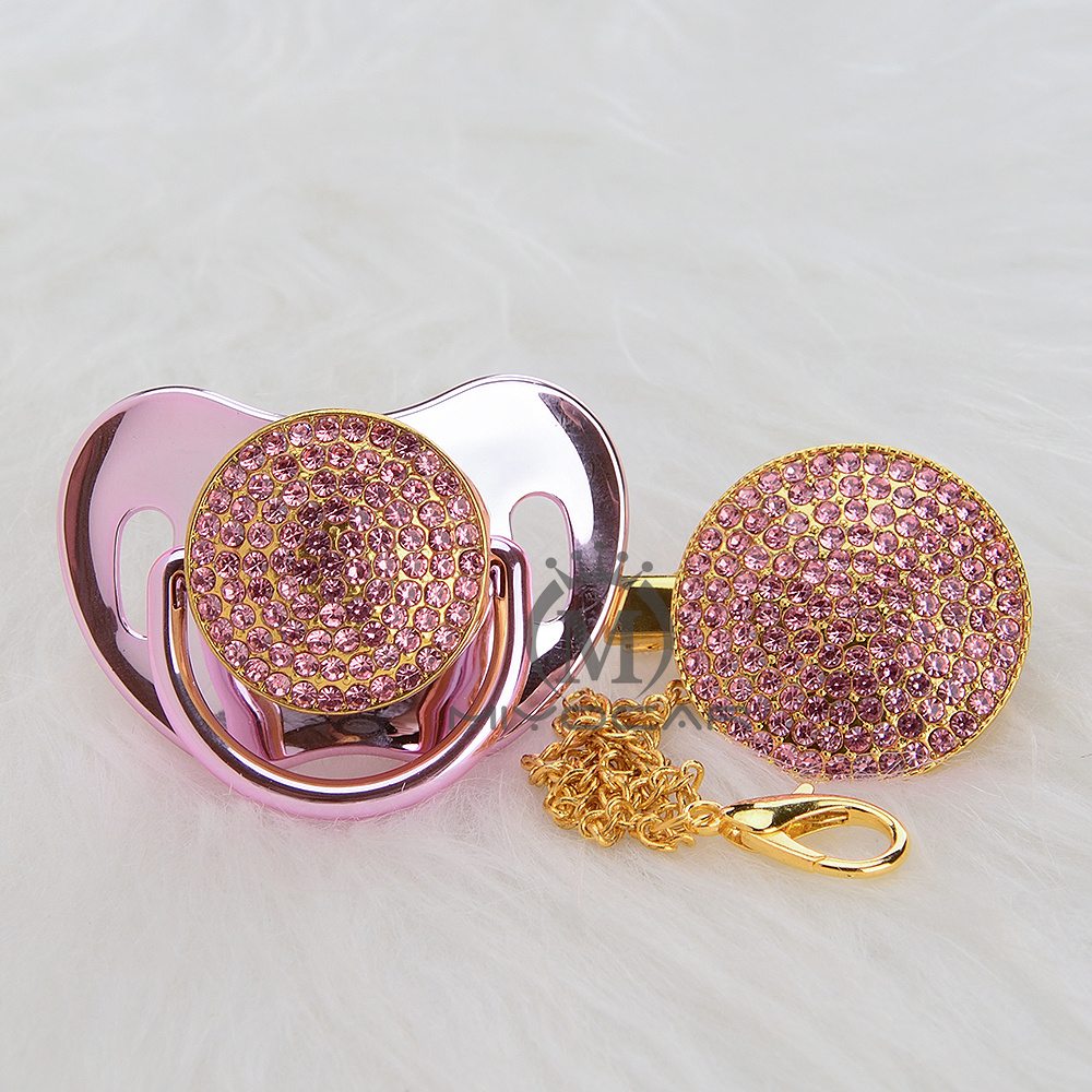 MIYOCAR Gold Pink Bling Pacifier And Bling Pink Pacifier Clip Set BPA Free Sgs Pass All Safe Pacifier To Baby Unique Design AP