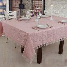 Скатерть из французского кружева, окантованная для кухни и столовой, розовый цвет порошка