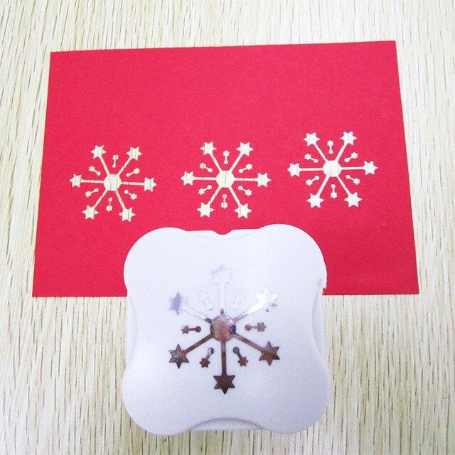 """1.5 """"(3.5 cm) חדש פתית שלג בצורת נייר חור אגרוף מקום לחתוך DIY רעיונות כוכב עיצוב קרפט אגרוף מכונה"""