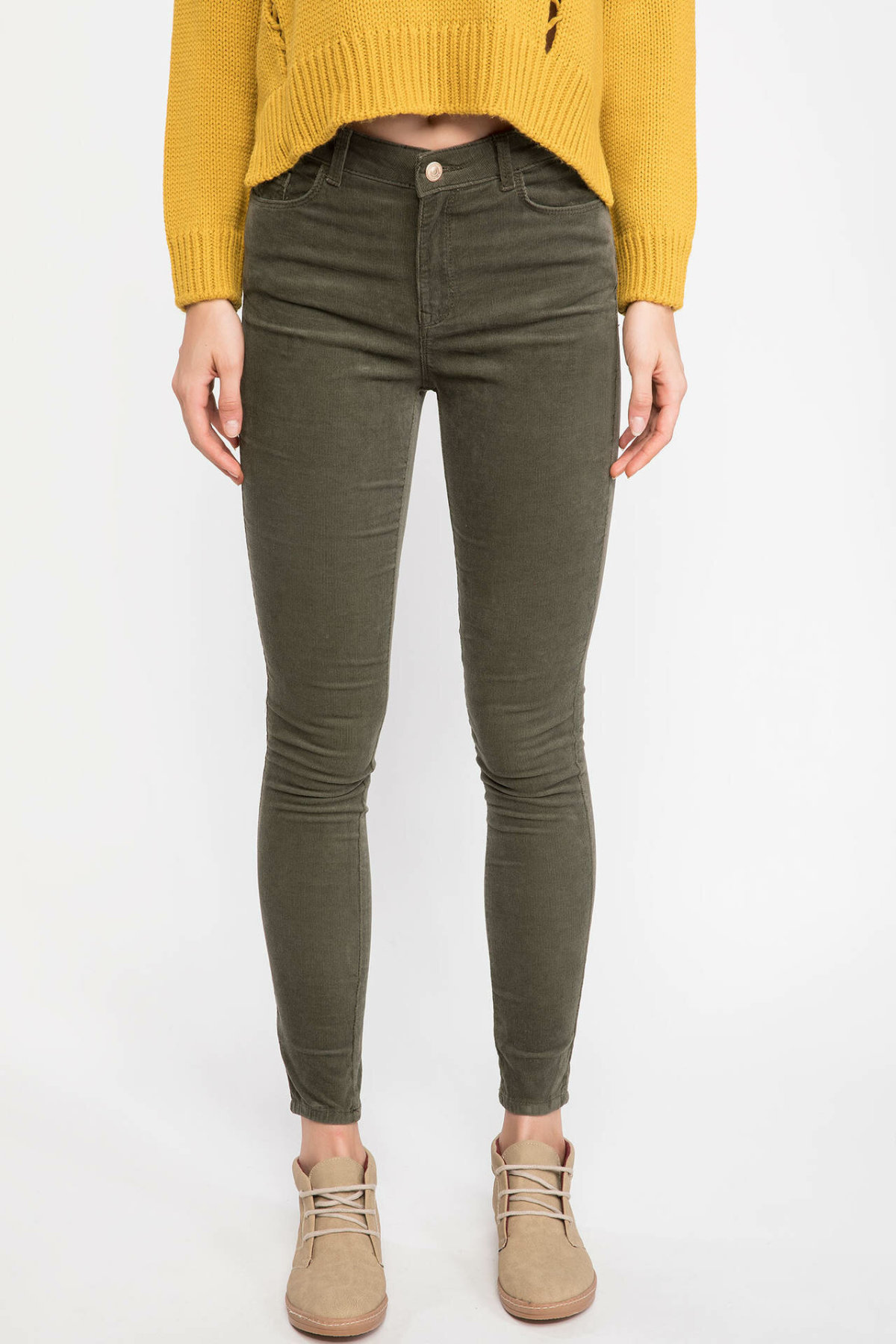 DeFacto Women Fashion Solid Jean Trousers Female High Waist Elastic Denim Female Slim Pencil Pants Ladies-J1542AZ18WN