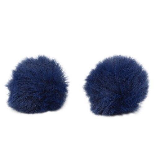Pompon Made Of Artificial Fur (rabbit), D-6cm, 2 Pcs/pack (J. Blue)