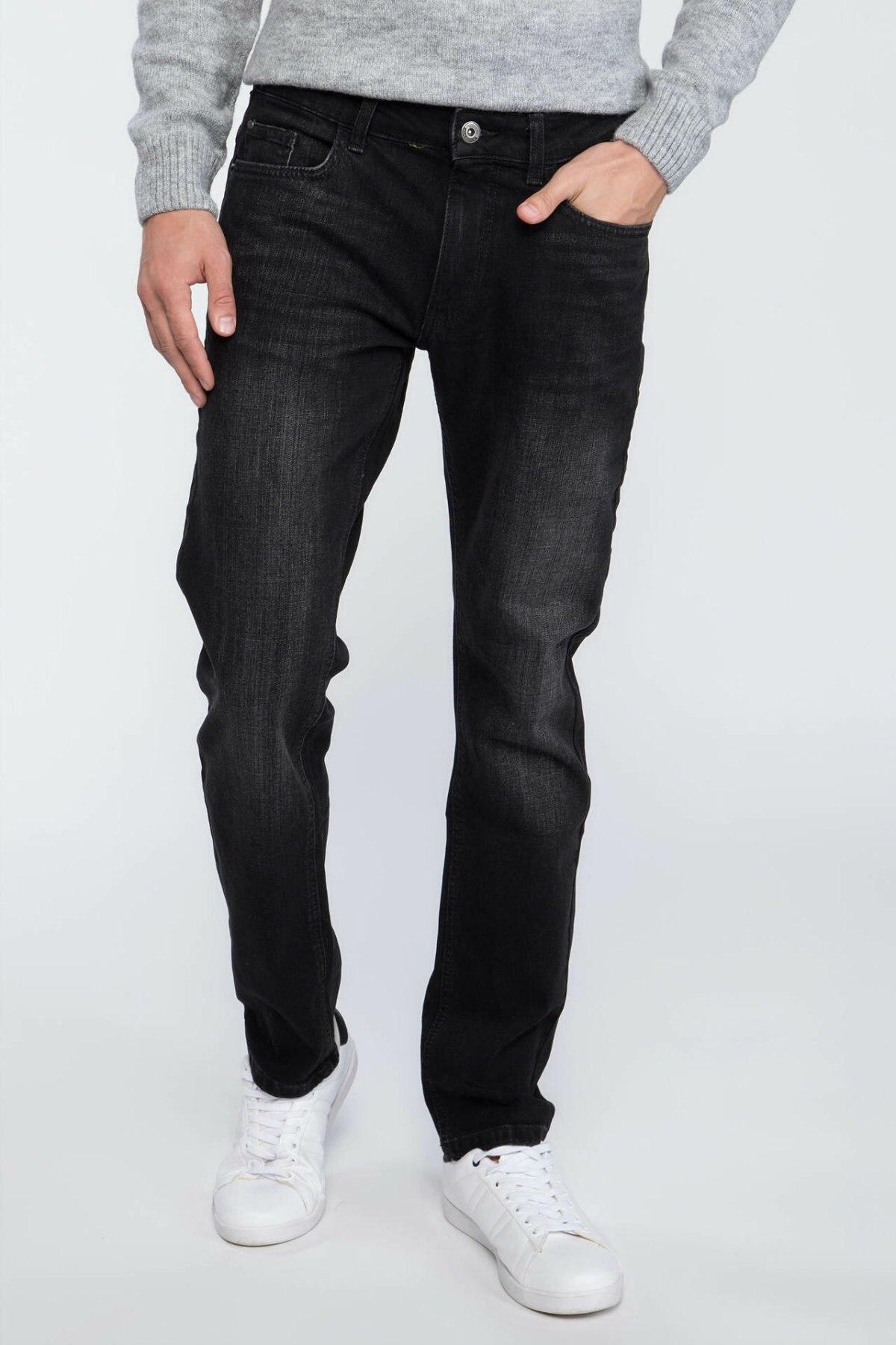 DeFacto Man Casual Denim   Jeans   Black Long Trousers Men Mid-waist Fashion Denim Pants All-match-H2498AZ17AU