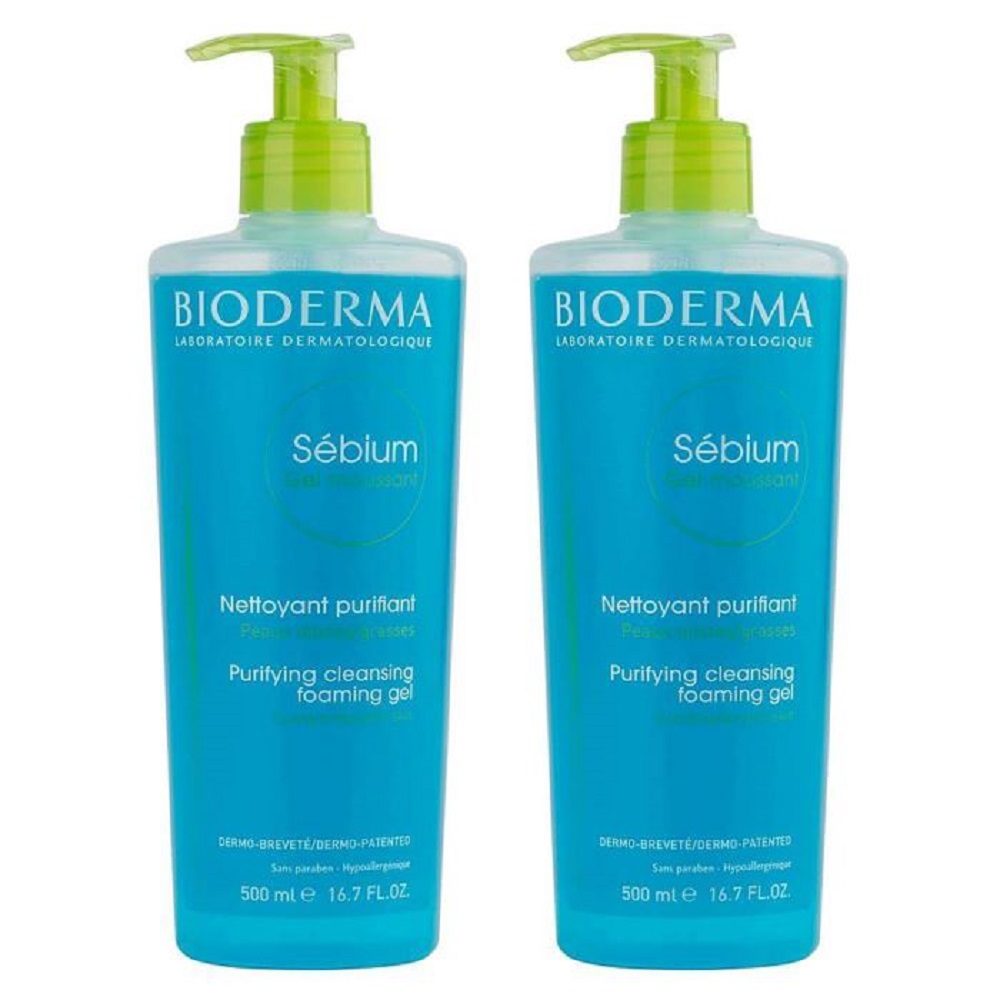SET OF 2 Bioderma Sebium Purifying Cleanising Foaming Gel Moussant 500ml + 500ml Best Quality