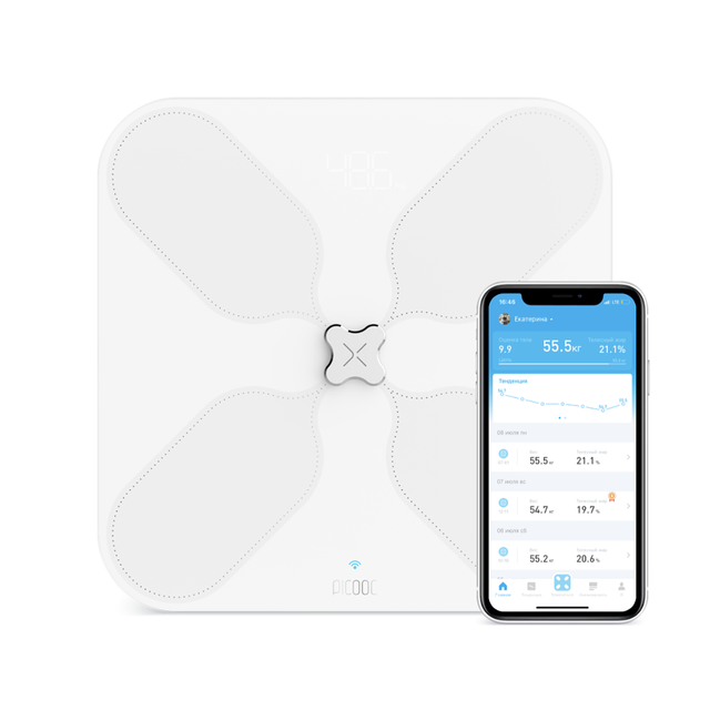 Умные весы Picooc S3 (Wi-Fi, Bluetooth, 33х33 см) цвет белый