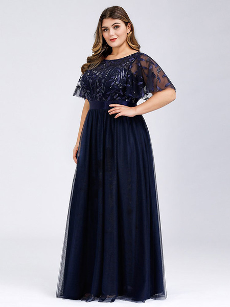 Prom Dress A Line Jewel Neck Chiffon Short Sleeves Floor Length Lace Wedding Guest Dresses