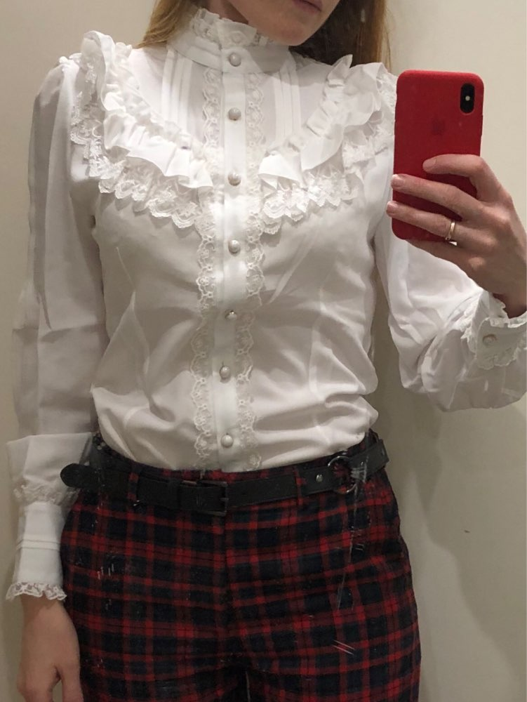Vintage Women'S Lolita Shirt Gothic Chiffon Ruffle Blouse Long Sleeve Blusas Black/White/Navy Blue/Burgundy photo review