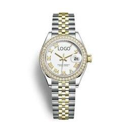 Швейцарские автоматические часы, высокое качество, женские часы из нержавеющей стали с календарем, водонепроницаемые женские часы, брендов...