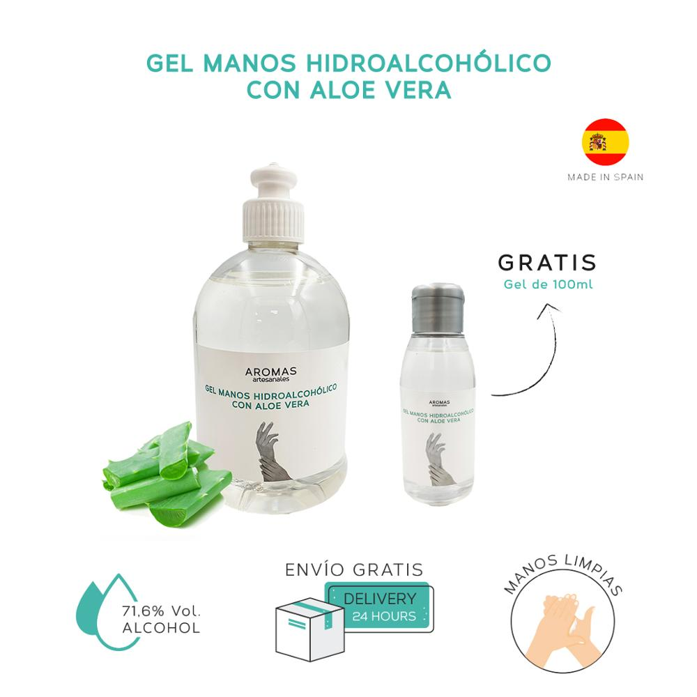 500 Ml - Gel Hands Hidroalcoholico + Gift | With Aloe Vera Gel 100 Ml | Rinse | Sanitizer Hands With Alcohol