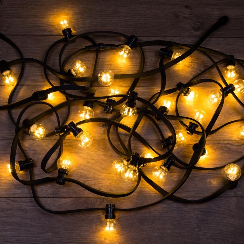Festoon LED Galaxy Bulb String 10 M, Black Or White RUBBER, 30 Lamp * 6 LED WARM WHITE, Moisture Resistant IP65