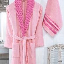 Nakışlı % 100 Pamuk 2 Parça Bayan Bornoz Seti-Pudra Pembesi Yumuşak Banyo Havlu Seti Pembe ( Sürpriz Hediyeli)