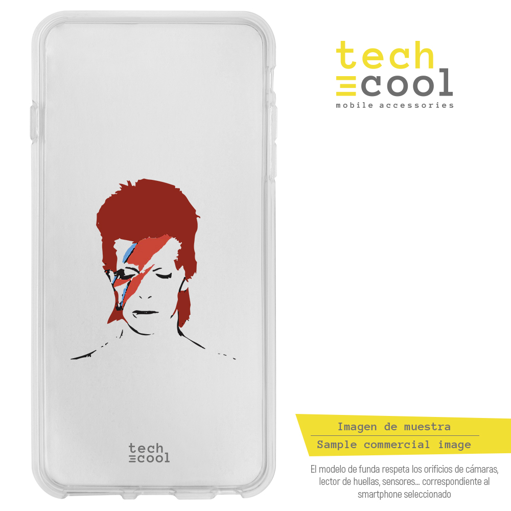 FunnyTech® Funda Silicona para LG Q6 / Q6+ / Q6 alpha l David Bowie Transparente Personajes 1