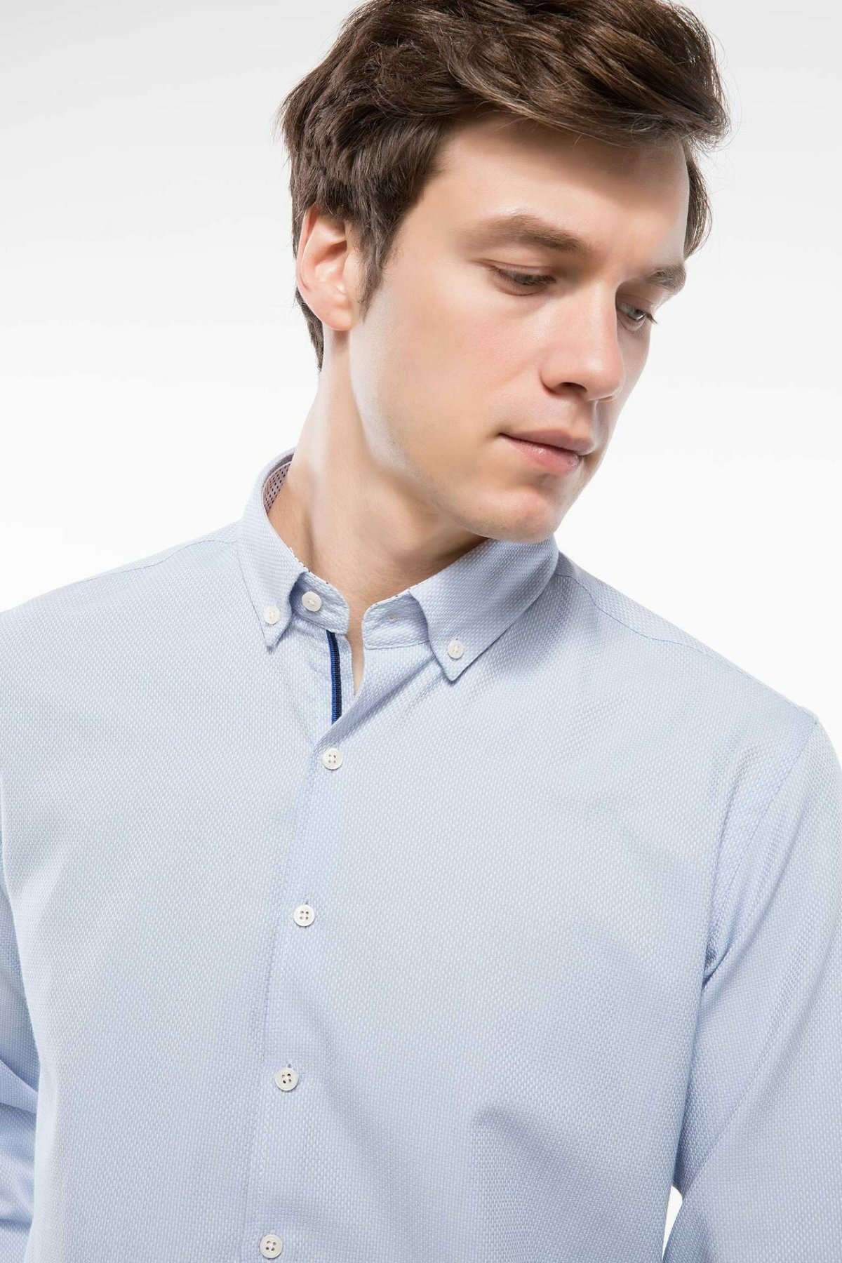 DeFacto Man Long Sleeve Shirt Lapel Collar Solid Business Formal Shirt Mens Simple Autumn New Tops - I1151AZ18AU