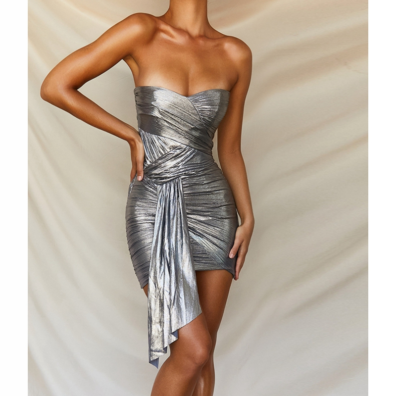 Robe d'été 2019 Sexy robe sans bretelles bleu brume femmes costume de Cocktail conception Sexy Club robes robes de fête en gros