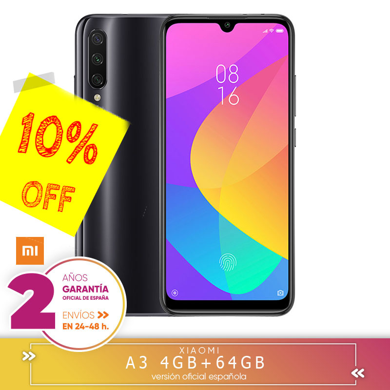 [Official Spanish Version Warranty] Xiaomi Mi A3 Smartphone Snapdragon 665 4 Hard GB 64 Hard GB 48.0MP + 8.0MP + 2.0MP 3 Still Cameras Rear