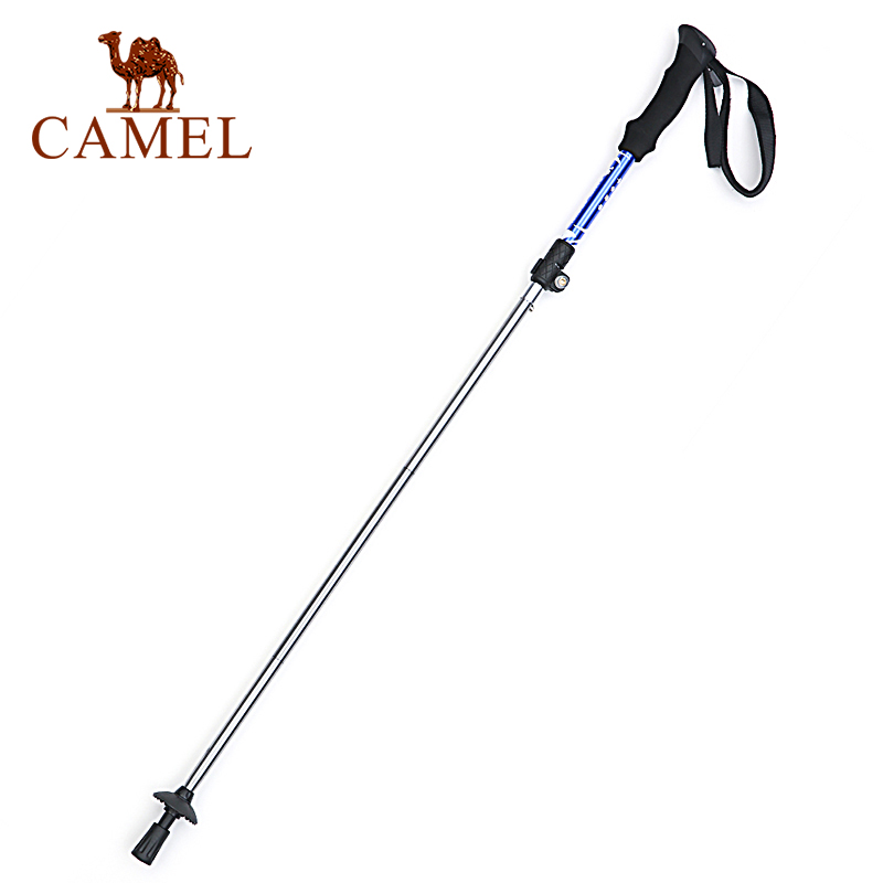CAMEL Walking Hiking Trekking Stick Straight Shank Ultra-light 3-section Anti Shock Adjustable Fold Aluminum Alloy Climbing Pole