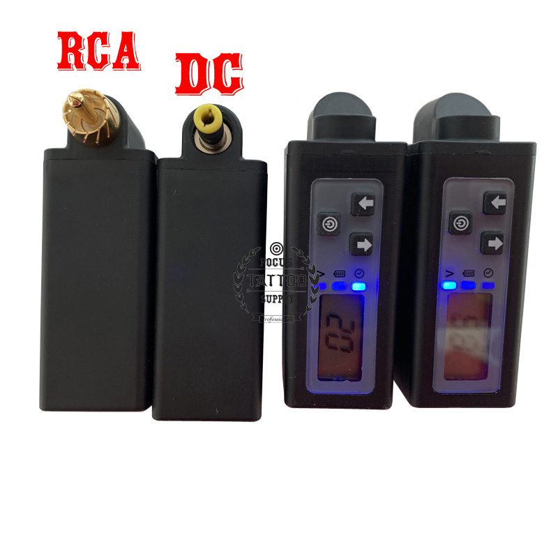 FKS Newest Wireless Tattoo Power Supply 2000mAh Mini Power Bank V2 LCD Screen Tattoo Battery RCA&DC Connector Tattoo Equipment