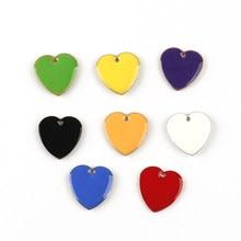 10 pz ciondoli smalto cuore rame smaltato bifacciale paillettes Charms non placcato 16*16mm per gioielli orecchino fai da te