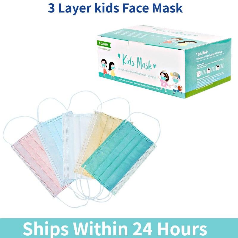 10/50 шт в наборе, детская маска одноразовая маска для лица, Китай ткали 3 Слои фильтр маска для губ маска для лица из дышащего материала Earloops ма...