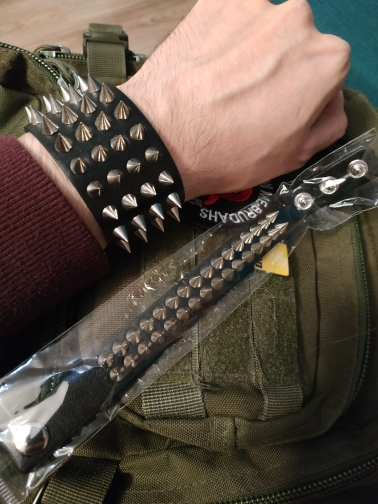 Gothic Punk Leather Cuff with Spikes Rivet photo review
