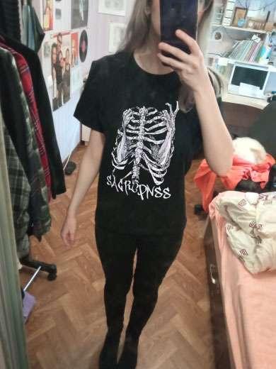 Woman t-shirts goth y2k Harajuku tops Halloween Street retro print skull bones Loose Short Sleeve kawaii anime graphic t shirt t photo review