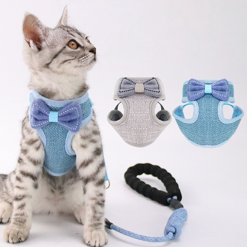 Cat Harness and Leash Lead Rope Adjustable Breathable Mesh Vest Harnesses with Cute Bowknot Design for Cats and Small-sized Dogs 1
