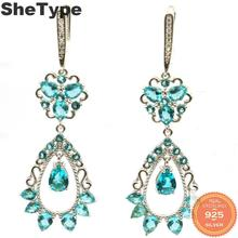 55x20mm Romantic Long 8.3g Rich Blue Aquamarine Natural CZ Gift For Ladies 925 Solid Sterling Silver Earrings