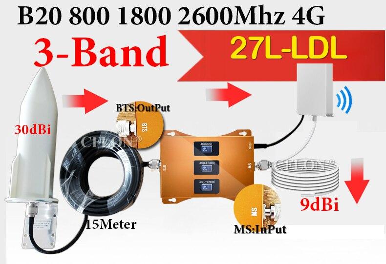 Novo!! amplificador 4g tri-band b20 800 1800