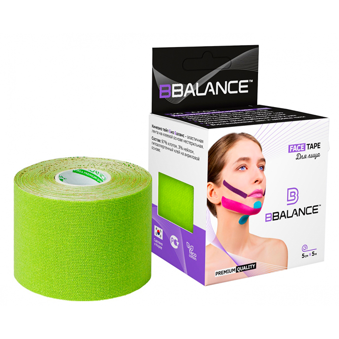 Kinesio Take-on Face Bbtape Face Pack (5 Cm * 5 M)-lime