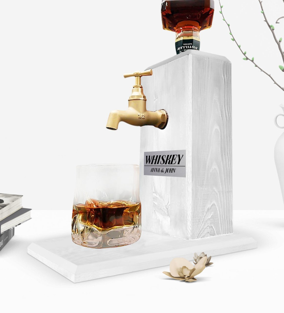 Custom Wooden Natural Whiskey Stand With Tap - Vintage White