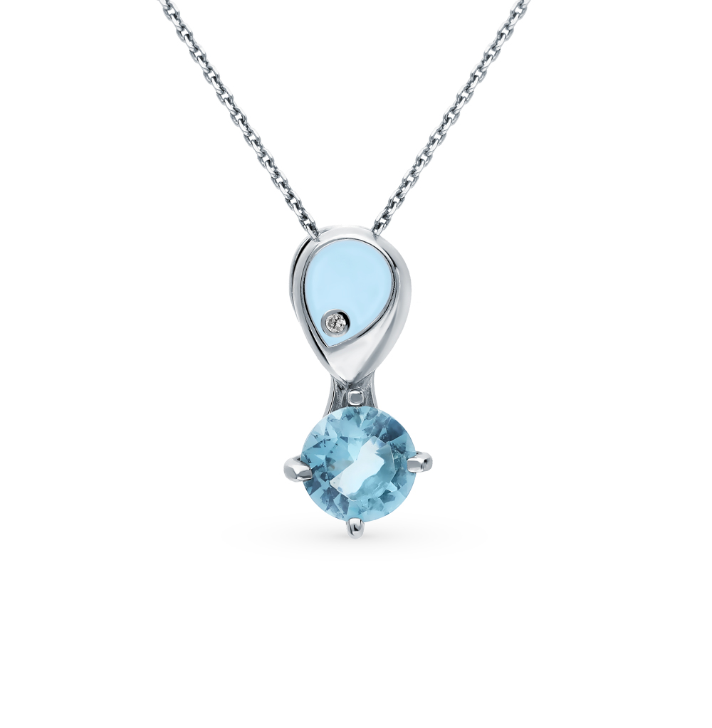 Silver Pendant With Topaz And Cubic Zirconia Sunlight Sample 925