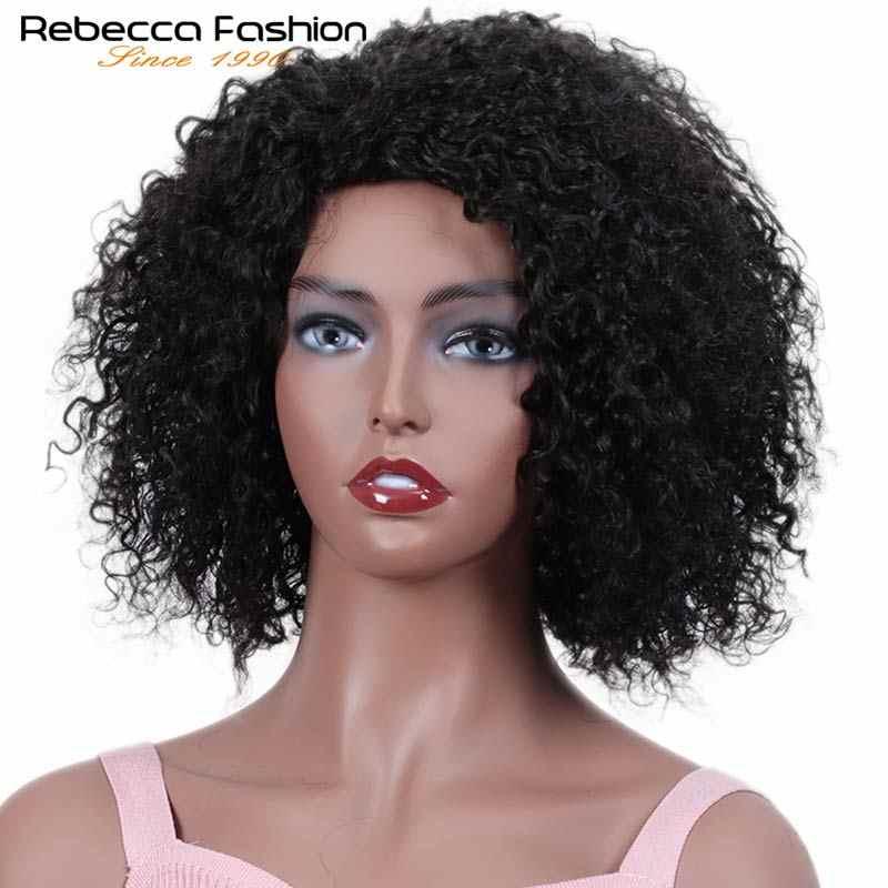 Rebecca Kurze Jerry Lockige Perücke menschenhaar Perücken Für Schwarze Frauen Peruanische Remy Bouncy Curly Bob Menschliches Haar Volle Perücke natürliche Haar