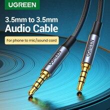 UGREEN-Cable auxiliar macho a macho de 3,5mm, 4 Pole TRRS, 4 conductores, Conector estéreo, HiFi, compatible con micrófono, función de Audio
