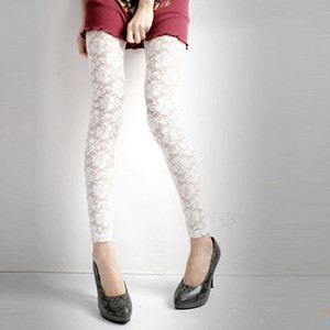 Image 3 - סקסי תחרה חותלות נשים עלה תחרה אלגנטי לראות דרך חותלות מכנסיים שחור לבן נשים קיץ סקיני מכנסי עיפרון