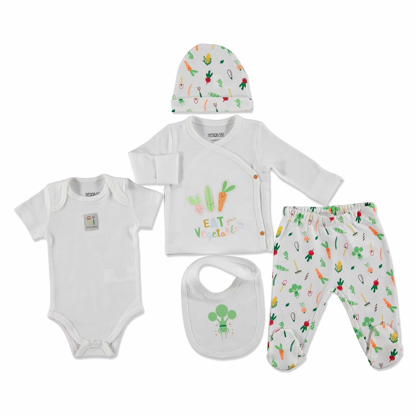 Ebebek HelloBaby Summer Baby Sweet Vegetables Bodysuit Hat Footed Pants Set