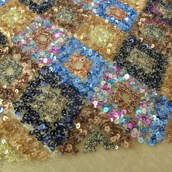 La Belleza 1 yard  Blue gold sequins  embroidered wedding/ evinging/show dress lace fabric 51'' width