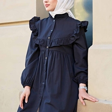 New Season 2021 Women Tunic Dress Islamic Clothing Hijab Fashion Dubai Long Sleeve Muslim Blouses Kimono Blusas Mujer