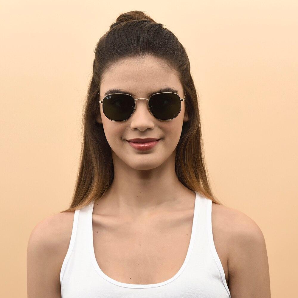 US $130.1 5% OFF|Ray Ban Sunglasses Men Women Hexagonal Flat Lens 3548N 001 51 Sun Glasses %100 Original UV Protection Lens Eyewear