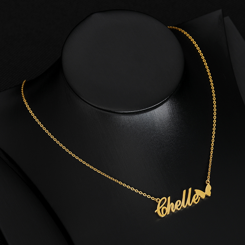 Custom Necklace Butterfly Pendant Stainless Steel Gold Chain Personalized Name Necklaces Choker Jewelry Necklaces for Women BFF