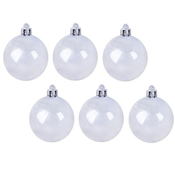 Новогодний шар, пластик, блестящий, 7 см, 6 шт. белый Snowmen ЕК0393|Декоративные шары| | АлиЭкспресс