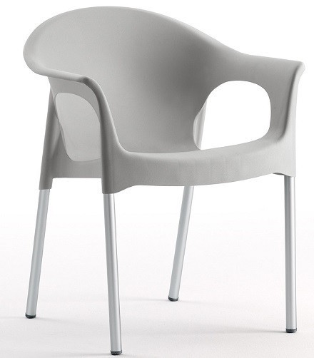 Armchair NILE Aluminum Stackable Polypropylene Gray *