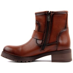 Image 3 - Moxee Tan Leather Women Boots Autumn Winter Boots Shoes Woman Fashion Round Toe Zipper Combat Ladies Shoes Casual Spring Female Ankle Boots Size 36 40 2019 Hot New