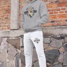 Angemiel Wear Carpediem Peace Mark, conjunto de chándal para hombre, Sudadera con capucha gris, pantalones de chándal blancos
