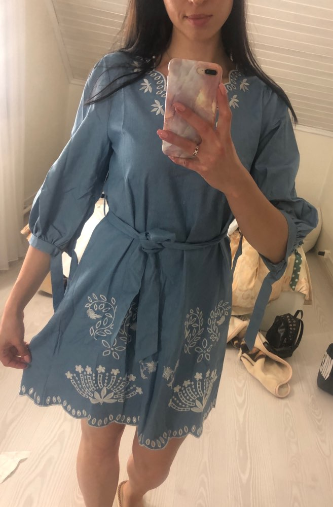 Summer V Neck Embrodiery Denim Dress Women Elegant Sashes Short Blue Jeans Dresses Casual Holiday Ladies Beach Dress photo review