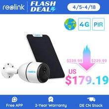 Reolink 4g lte câmera ir 1080p trabalho de visão noturna luz das estrelas com cartão sim à prova de intempéries recarregável bateria alimentado câmera ip