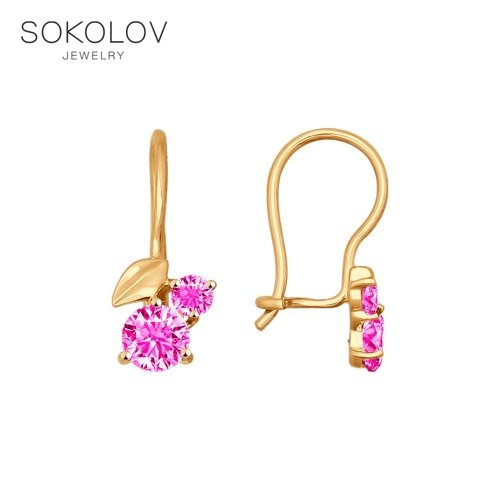SOKOLOV Drop Earrings With Stones With Stones With Stones With Stones With Stones With Stones With Stones Of Gold With Pink Cubic Zirconia Fashion Jewelry 585 Women's/men's, Male/female