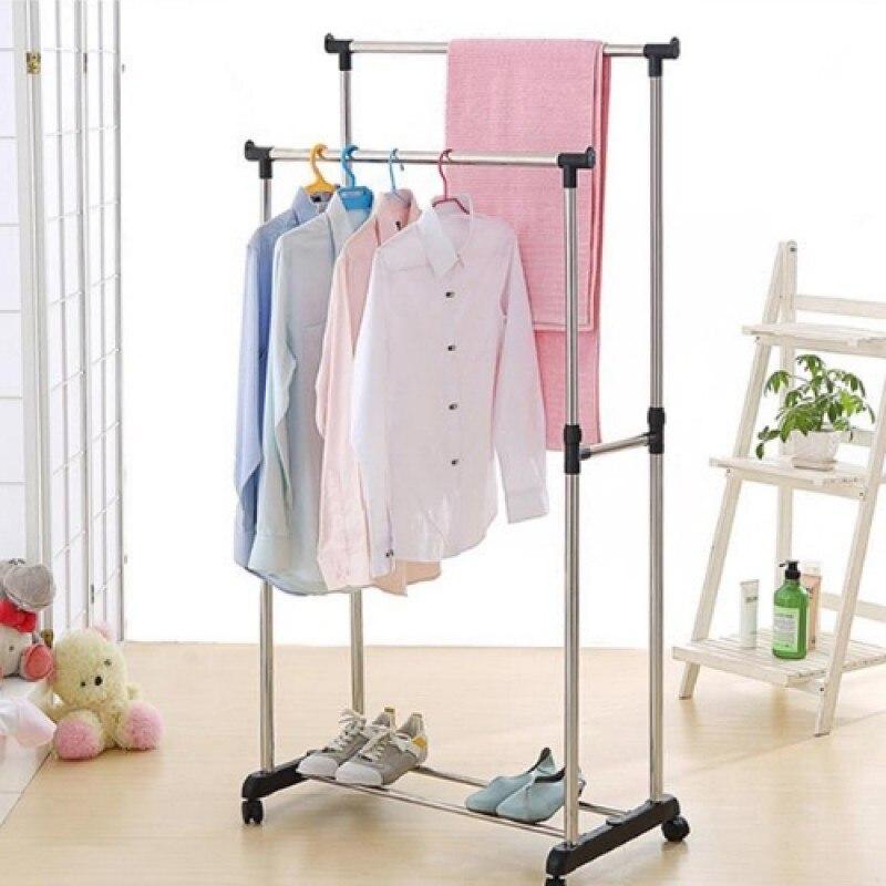 напольная стойка для одежды Мобильная многофункциональная стойка вешалка на колесах из нержавеющей стали