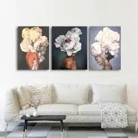 SLTN-FLORAL WOMEN SET-SILVER SILVERY CANVAS PRINT SET 439533443