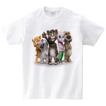 Cartoon Printed Children Summer Cotton T-shirt Talking Tom Cat Game Boy/Girl Tops Kids Breathable Comfort Funny Toddler Costume