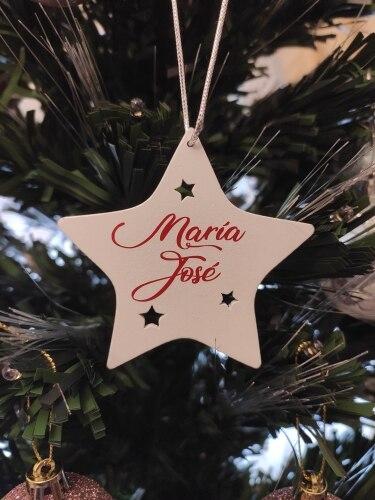 Estrella de madera navidad personalizada con nombre