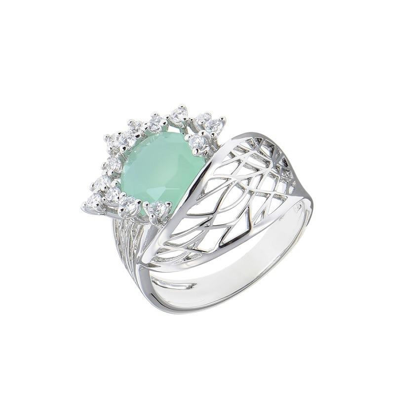 Bijoux de luxe qsy ensembles pour femmes. Belles boucles d'oreilles femme avec pierres. Bague large avec fleur zircon vert - 5